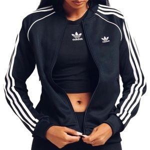 SST Adidas Track Jacket Black 3 white stripe L